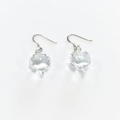 Venetian Glass Clear Heart Earrings