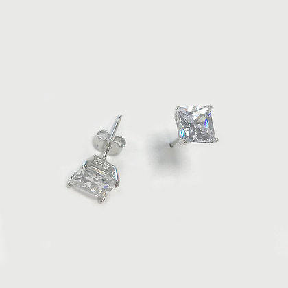 Sterling Silver Cubic Zirconia Square Studs