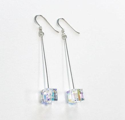 Swarovski Cube Long Earrings