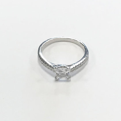 Sterling silver cubic zirconia square ring.
