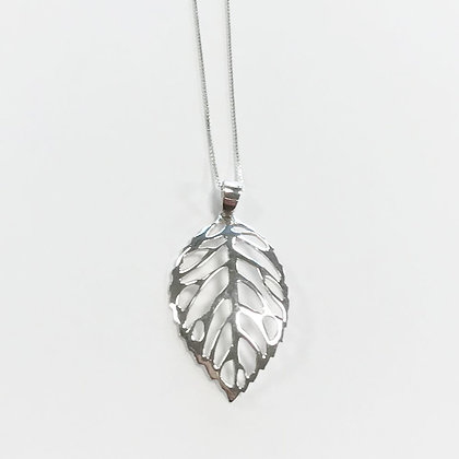 Sterling Silver Large Open Leaf Pendant