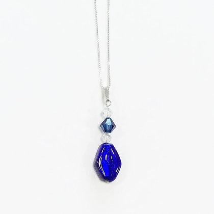 Venetian Glass Cobalt Blue Diamond Pendant