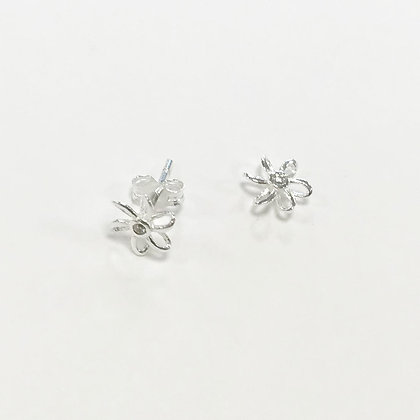 Sterling Silver Cubic Zirconia Flower Studs