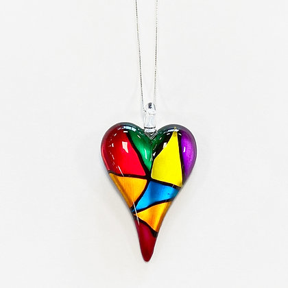 Large Rainbow Glass Heart Pendant