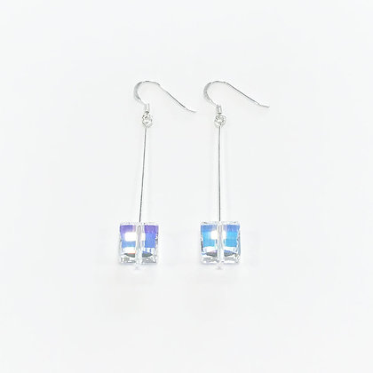 Square Swarovski Long Earrings