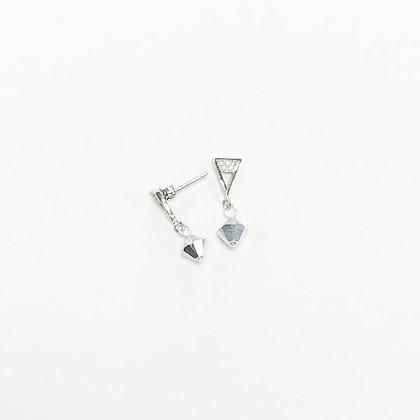 Sterling Silver Cubic Zirconia Triangle Earrings