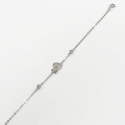 Sterling Silver Cubic Zirconia Linked Heart Bracelet