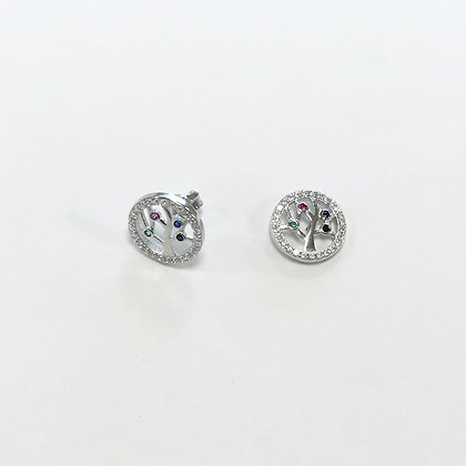 Sterling Silver Coloured Cubic Zirconia Tree of Life Studs