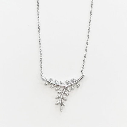Sterling Silver Cubic Zirconia Leaves Necklace