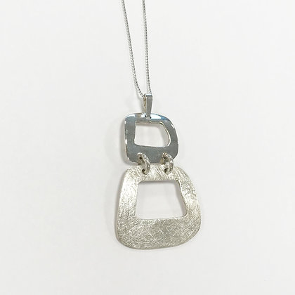 Sterling Silver Polished and Matt Double Square Pendant
