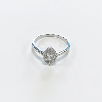 Sterling silver cubic zirconia marquise ring