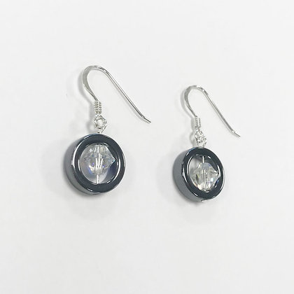 Hematite Disc Short Earrings