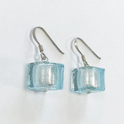 Venetian Glass Aqua Cube Earrings