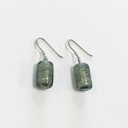 Venetian Glass Grey Cylinder Earrings
