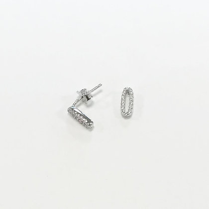 Sterling Silver Cubic Zirconia Pave Oval Studs