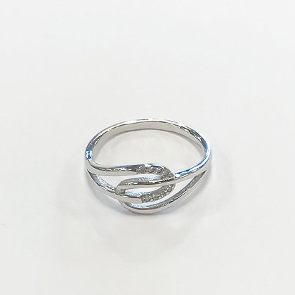Sterling silver cubic zirconia entwined ring