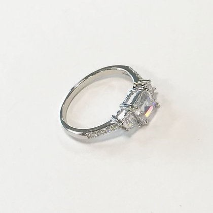 Sterling silver cubic zirconia trio ring