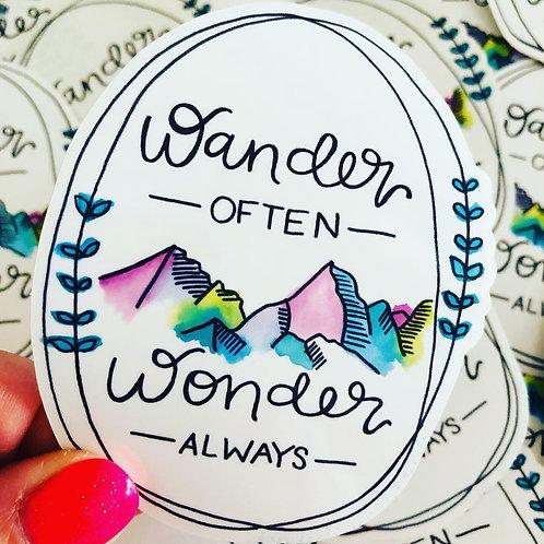 Wander Often, Wonder Always - Vinyl Sticker