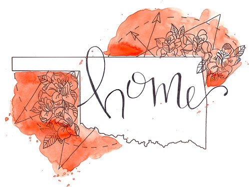 Oklahoma Home Watercolor - 9x12 Print