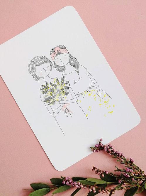 """Carte """"Soeurs mimosa"""""""
