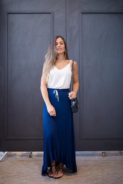 Frente da saia midi soft azul marinho les cloches