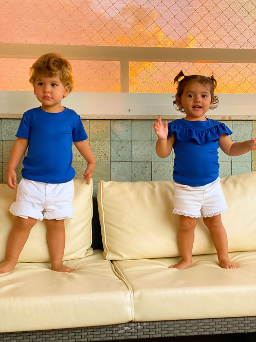 Frente da camiseta masculina azul bic infantil les cloches