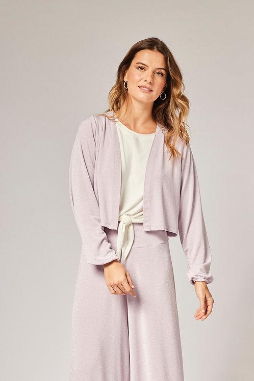 Frente do casaqueto lurex lilás les cloches