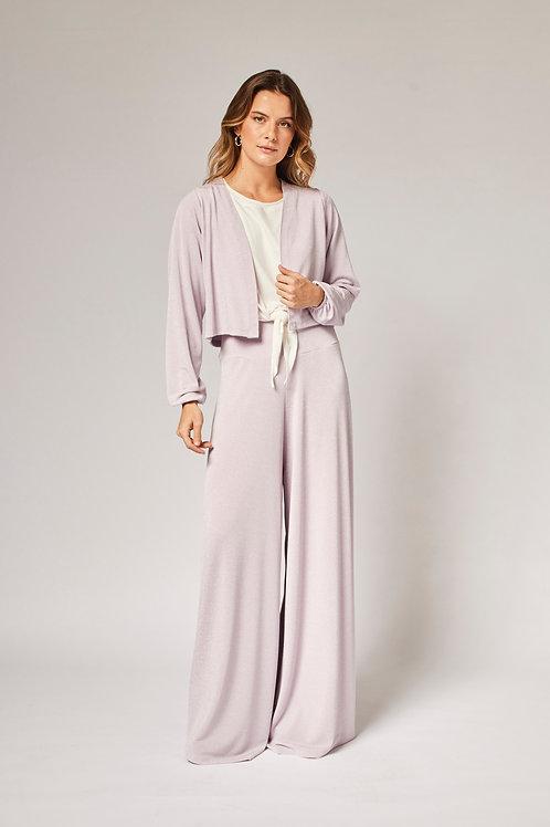 Frente da pantalona lurex lilás les cloches