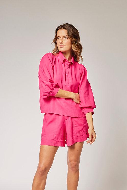 Frente do shorts linho pink les cloches
