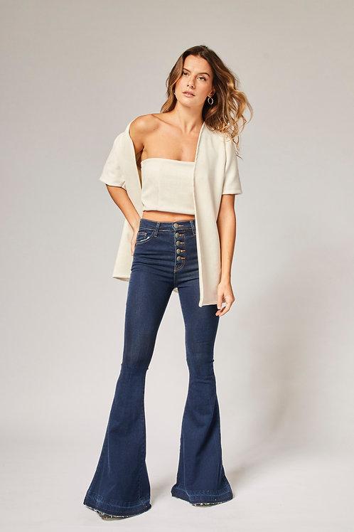 Frente da calça jeans flare fio moletom les cloches