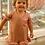 Frente do vestido manga babado nude infantil les cloches