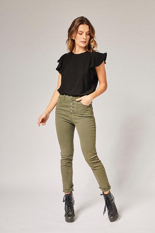 Frente da calça jeans skinny verde militar les cloches
