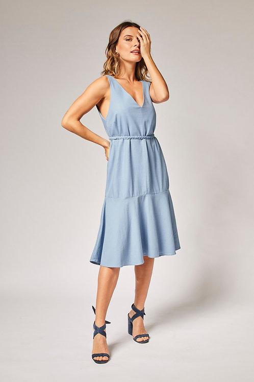 Frente do vestido linho trança azul les cloches