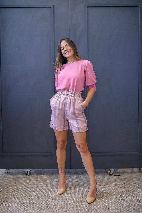 Frente da camisa lastex phoebe rosa les cloches