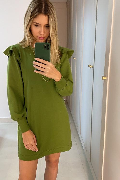 Frente do vestido moletom babado verde les cloches