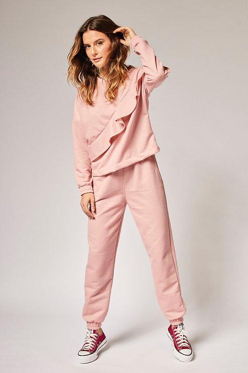 Frente da calça moletom rosa les cloches
