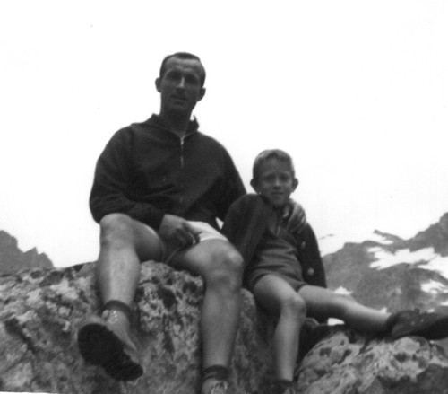 My grandfather Albert and my father, the Alps, France, 1967