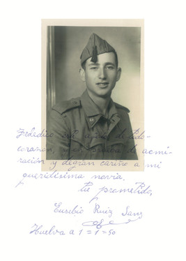 My grandfather Eusebio in the army and the love letter he wrote to my grandmother, Huelva, Spain, 1950