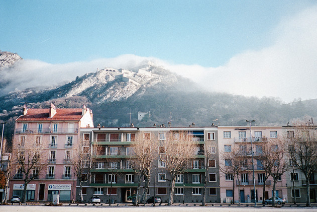 View of the Bastille mountain from l'Esplanade, Grenoble, France