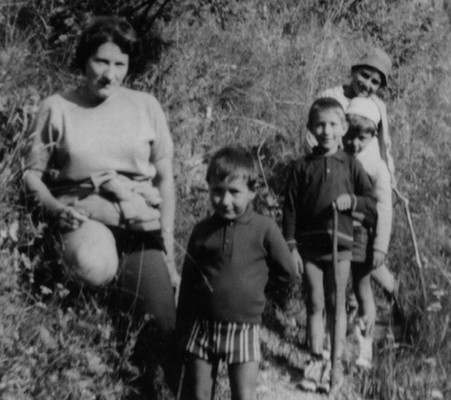 My grandmother Suzette with my father, his brother and other kids, the Alps, France, 1967