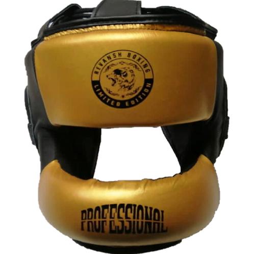 Шлем бамперный, HGD004BLGN,  черно-золотой, кожа