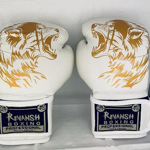 Боксерские перчатки REVANSH, детские, бело-золотой