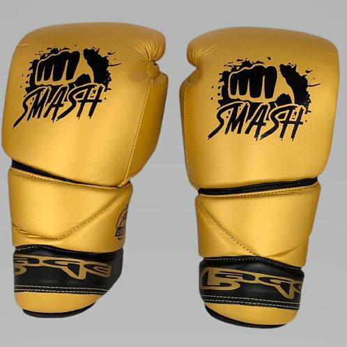 Боксерские перчатки LAGE BGL005GN со шнуровкой, золотые, кожа