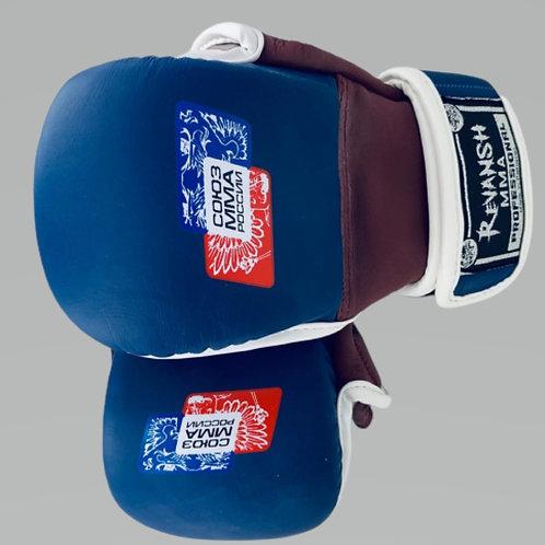 Перчатки союз ММА России HYBRID REVANSH, сине-красный, натуральная кожа