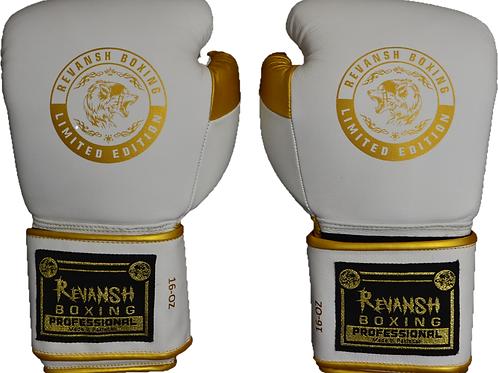 Боксерские перчатки REVANSH PRO Gold, BGL001WEGN, бело-золотой, натуральная кожа