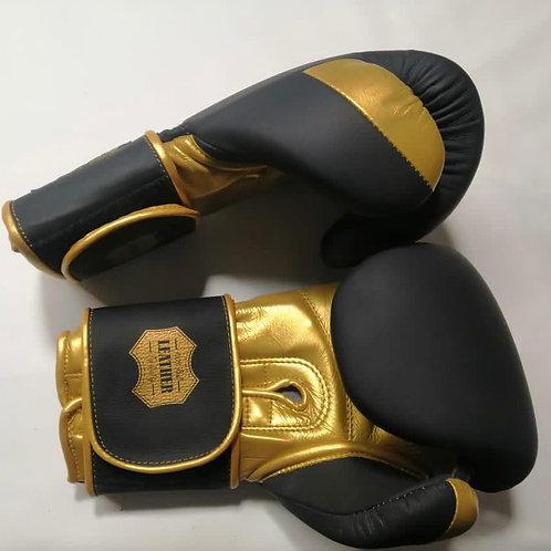 Боксерские перчатки REVANSH PRO Gold, BGL001BKGN, черно-золотой,натуральная кожа