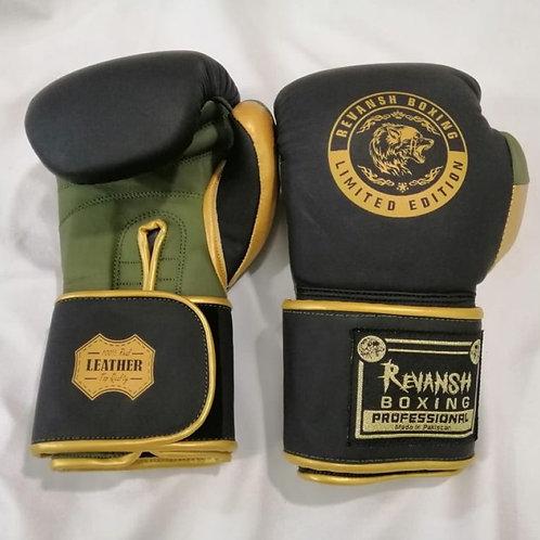 Боксерские перчатки REVANSH, черно-хаки-золото, натуральна