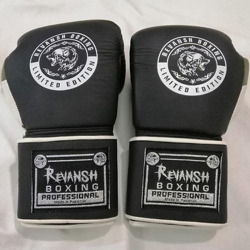 Боксерские перчатки REVANSH, черно-хаки-белый, натуральна