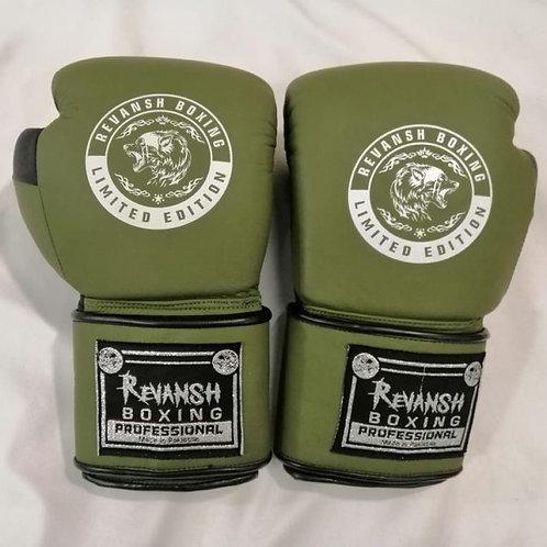 Боксерские перчатки REVANSH, хаки-черный, натуральна