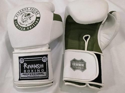 Боксерские перчатки REVANSH, бело-хаки, натуральна